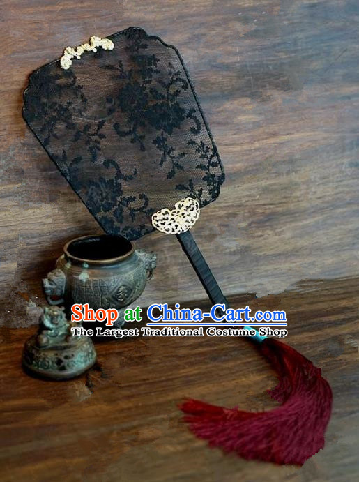 Top Grade Chinese Handmade Palace Fans Ancient Black Lace Round Fans for Women