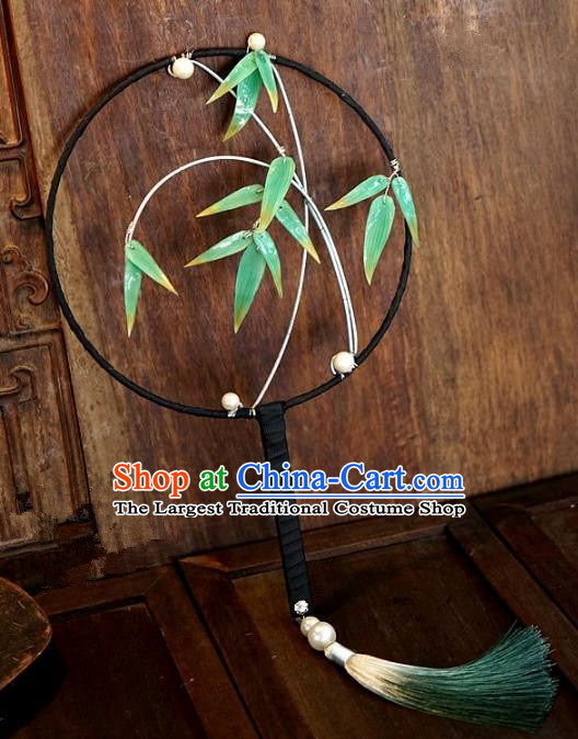 Top Grade Chinese Handmade Palace Fans Ancient Bamboo Leaf Round Fans for Women