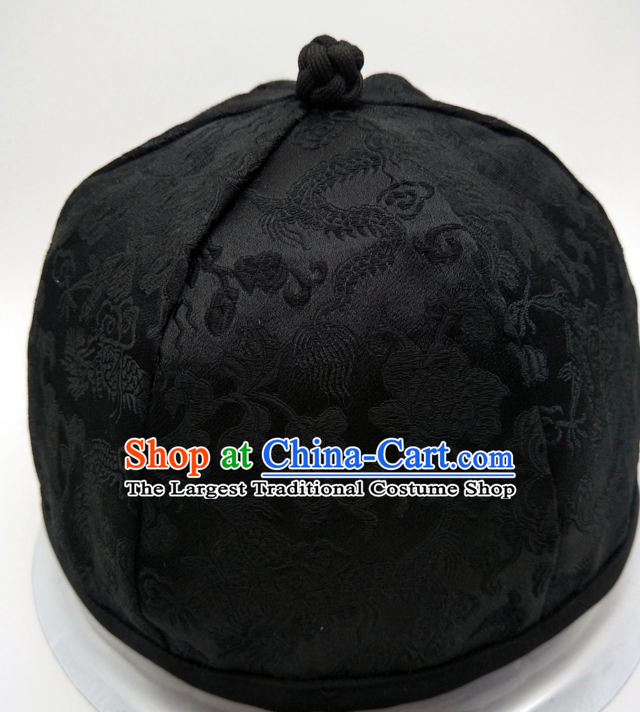 Chinese Ancient Style Handmade Qing Dynasty Black Hat for Men