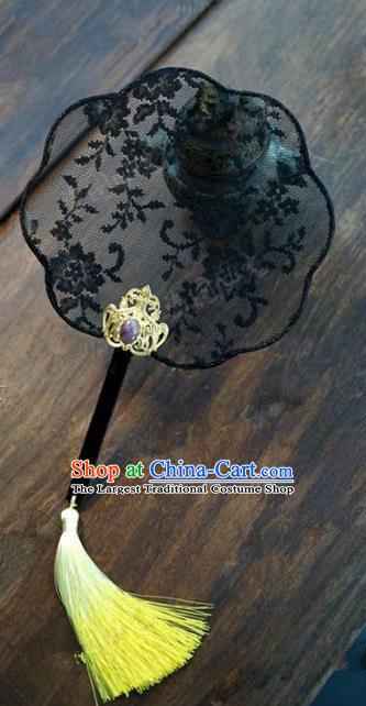 Top Grade Chinese Handmade Black Lace Palace Fans Ancient Wedding Round Fans for Women