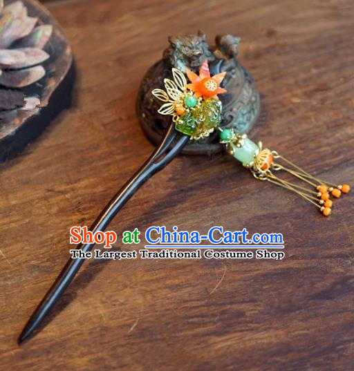 Chinese Handmade Ancient Hair Accessories Princess Ebony Tassel Hairpins for Women