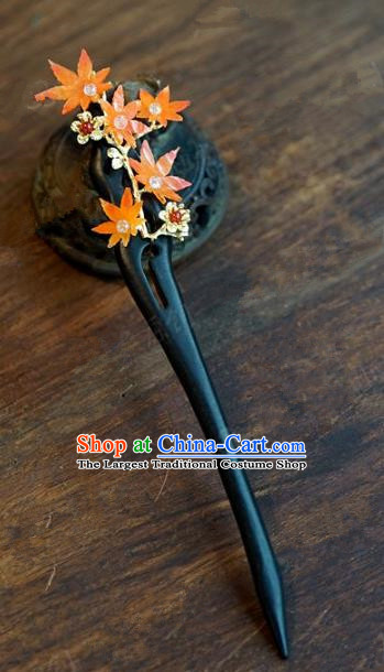 Chinese Handmade Ancient Hair Accessories Ancient Hanfu Ebony Hairpins for Women