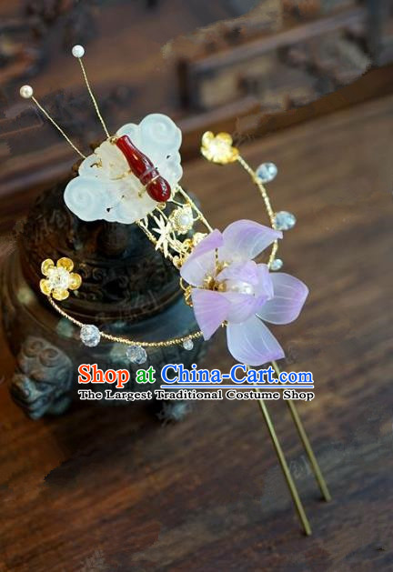 Chinese Handmade Ancient Hair Accessories Ancient Hanfu Jade Butterfly Lotus Hairpins for Women