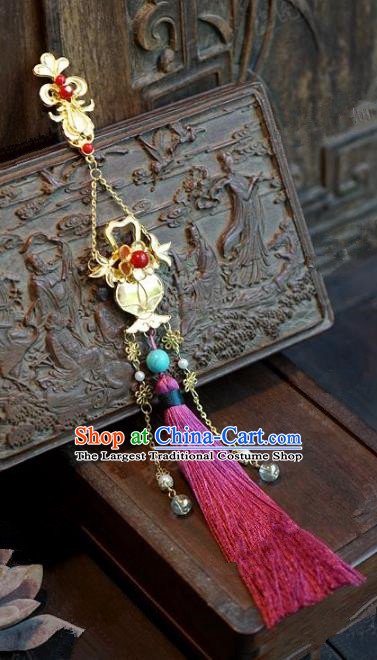 Chinese Handmade Pressure Front Pink Tassel Brooch Ancient Bride Jewelry Accessories for Women