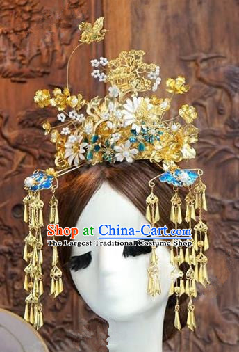 Chinese Handmade Wedding Hair Accessories Ancient Bride Phoenix Coronet Hairpins for Women