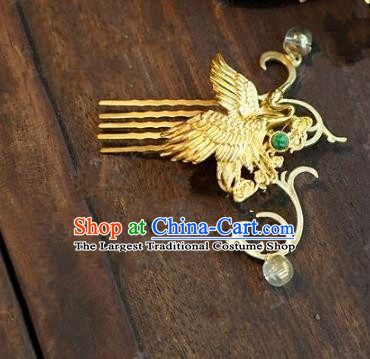 Chinese Handmade Ancient Hair Accessories Ancient Hanfu Crane Hair Comb Hairpins for Women