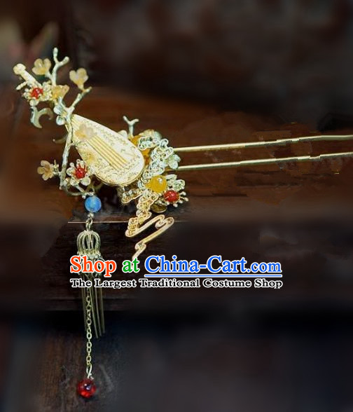 Chinese Handmade Ancient Hair Accessories Ancient Hanfu Hair Clip Lute Hairpins for Women