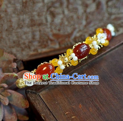 Chinese Handmade Ancient Hair Accessories Ancient Hanfu Agate Hairpins for Women