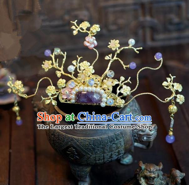 Chinese Handmade Ancient Hair Accessories Ancient Hanfu Purple Crystal Hairpins for Women