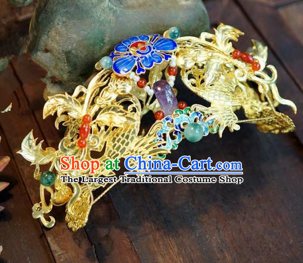 Chinese Handmade Ancient Hair Accessories Ancient Hanfu Cloisonne Hair Crown Hairpins for Women