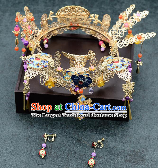 Chinese Ancient Bride Phoenix Coronet Handmade Hairpins Hair Accessories for Women