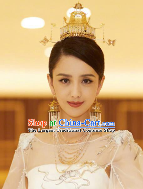 Chinese Ancient Bride Golden Phoenix Coronet Handmade Hairpins Hair Accessories for Women