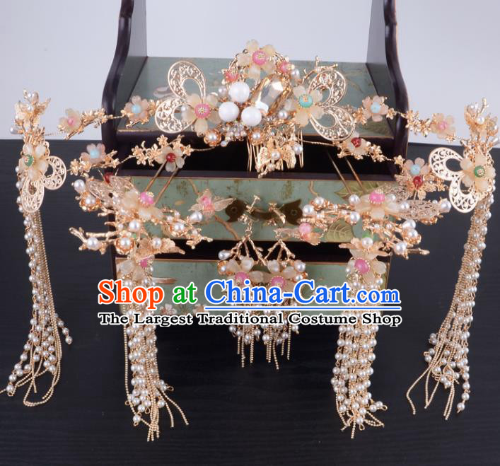 Chinese Ancient Handmade Xiuhe Suit Phoenix Coronet Palace Lady Hairpins Hair Accessories for Women