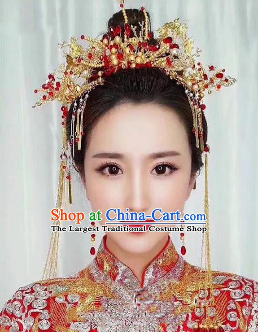 Chinese Ancient Handmade Xiuhe Suit Golden Phoenix Coronet Hairpins Hair Accessories for Women