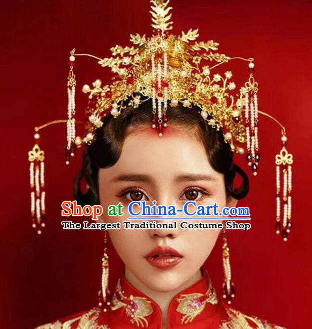 Chinese Ancient Handmade Bride Hairpins Hair Accessories Complete Set for Women
