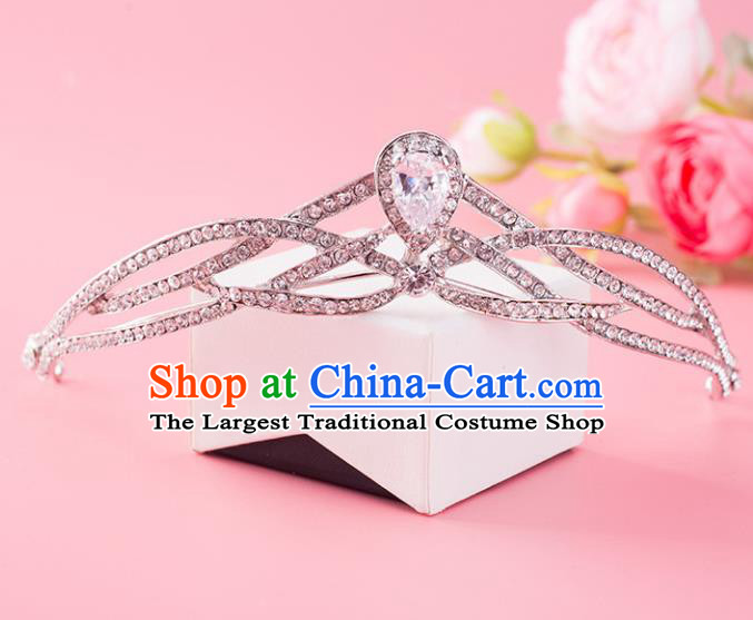 Handmade Baroque Bride Crystal Royal Crown Wedding Hair Jewelry Accessories for Women