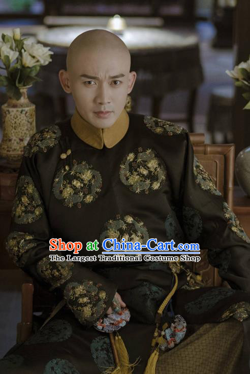 Chinese Ancient Qing Dynasty Emperor Qianlong Story of Yanxi Palace Embroidered Costumes for Men