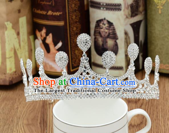 Handmade Baroque Bride Royal Crown Wedding Princess Crystal Hair Jewelry Accessories for Women