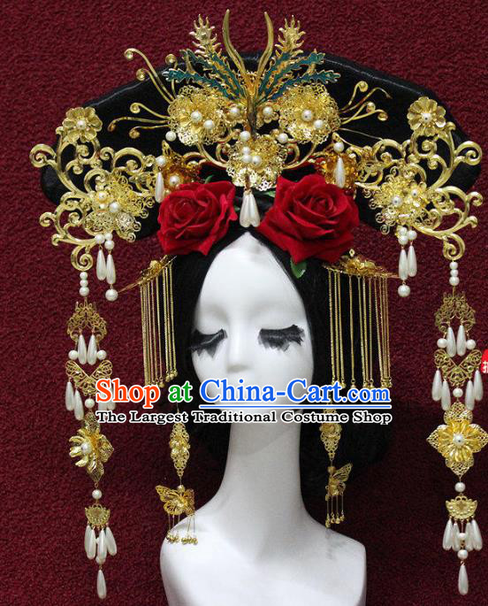 Chinese Ancient Handmade Qing Dynasty Queen Phoenix Coronet Hairpins Hair Accessories Step Shake Complete Set for Women
