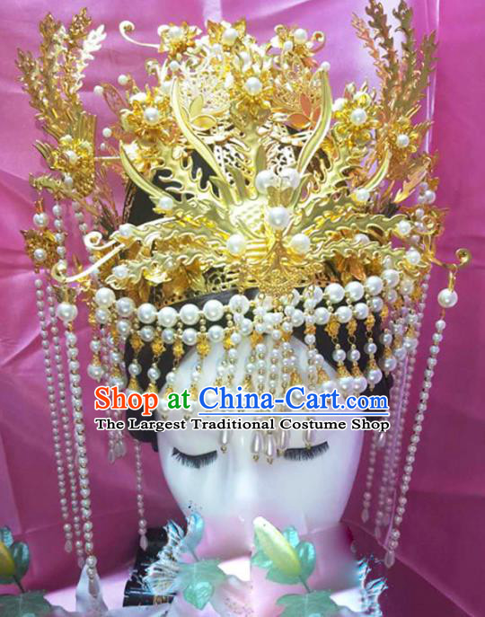 Chinese Ancient Handmade Queen Golden Phoenix Coronet Hairpins Hair Accessories Step Shake Complete Set for Women