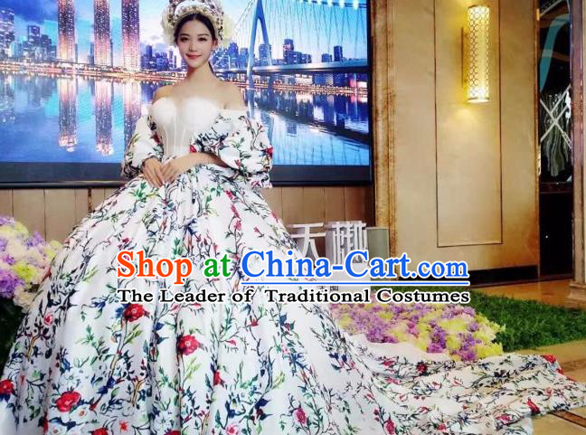 Top Grade Catwalks Costume Stage Performance Model Show Trailing Dress for Women