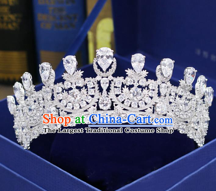 Handmade Baroque Bride Crystal Royal Crown Wedding Queen Crystal Hair Jewelry Accessories for Women