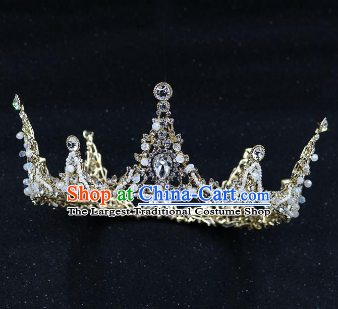 Handmade Baroque Bride Zircon Round Royal Crown Wedding Queen Crystal Hair Jewelry Accessories for Women