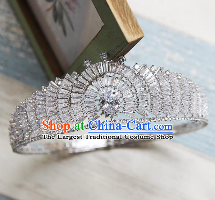 Handmade Baroque Bride Round Royal Crown Wedding Queen Crystal Hair Jewelry Accessories for Women