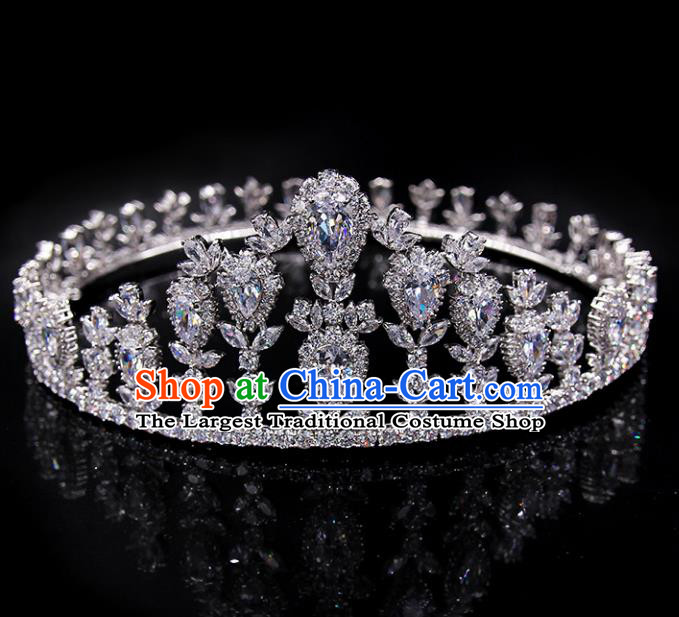 Handmade Baroque Bride Crystal Round Royal Crown Wedding Queen Hair Jewelry Accessories for Women