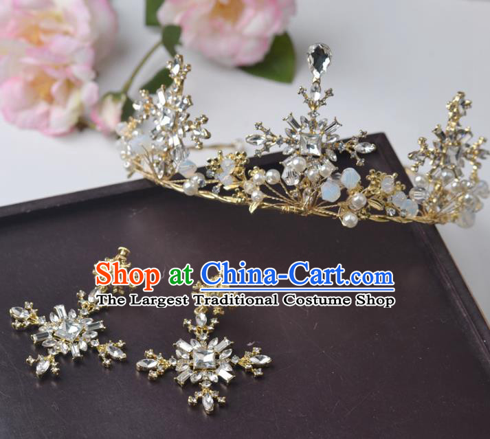 Handmade Baroque Bride Golden Crystal Royal Crown and Earrings Wedding Queen Hair Jewelry Accessories for Women