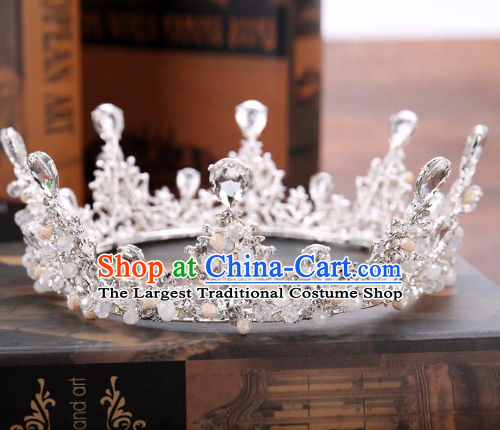 Handmade Baroque Bride Baroque Crystal Round Royal Crown Wedding Queen Hair Jewelry Accessories for Women