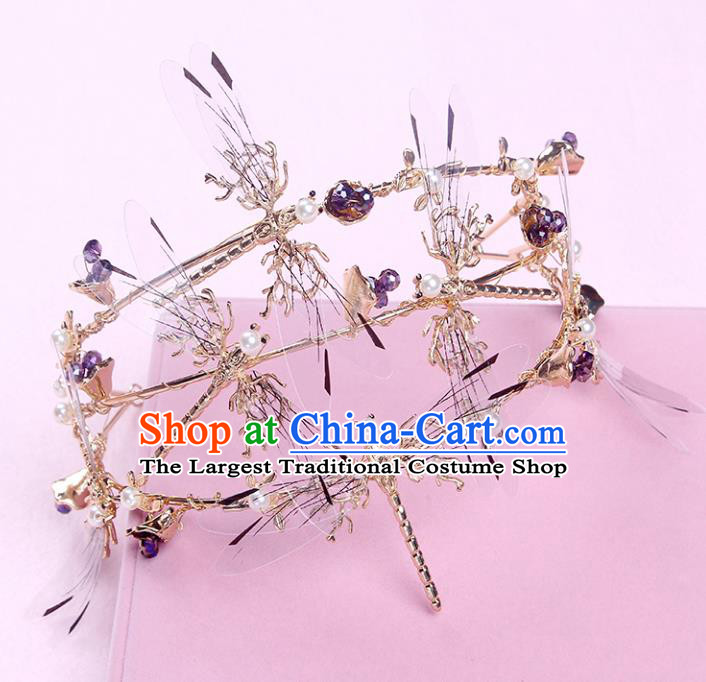 Handmade Baroque Bride Baroque Golden Dragonfly Royal Crown Wedding Queen Hair Jewelry Accessories for Women