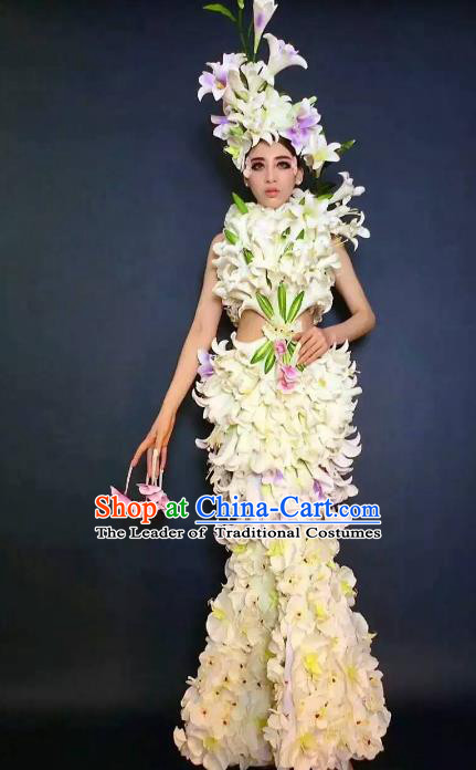 Top Grade Catwalks Costume Stage Performance Model Show Lily Flowers Dress for Women