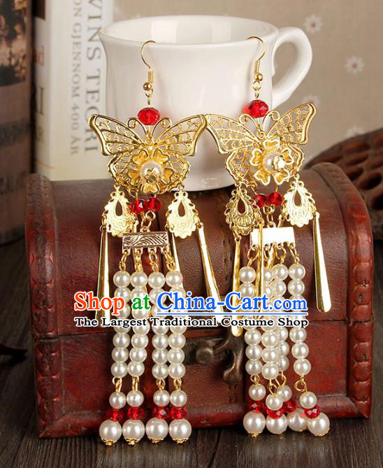 Top Grade Handmade Jewelry Accessories Bride Pearls Tassel Butterfly Earrings for Women