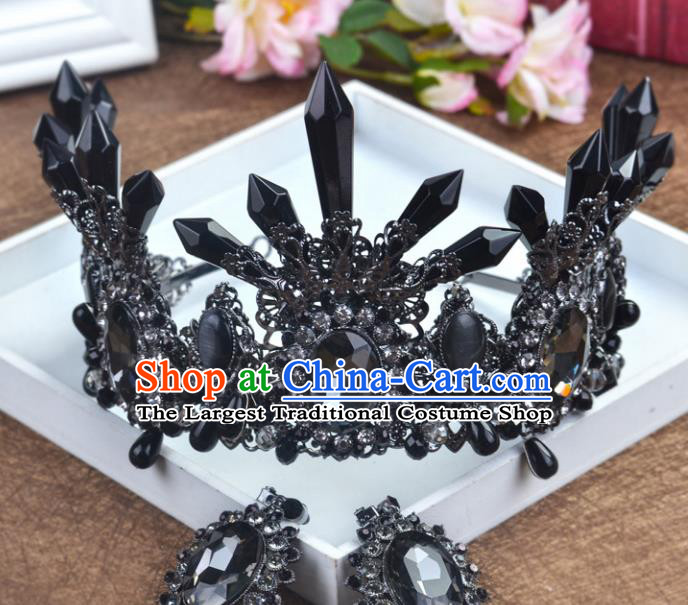 Handmade Baroque Queen Black Crystal Royal Crown Wedding Bride Hair Jewelry Accessories for Women
