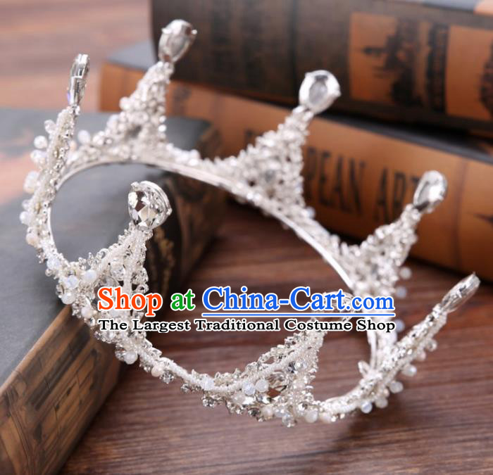 Handmade Baroque Queen Crystal Beads Round Royal Crown Wedding Bride Hair Jewelry Accessories for Women