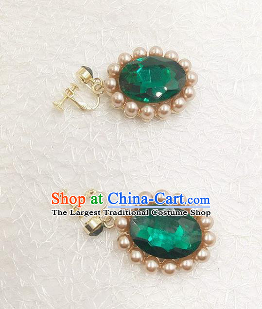 Top Grade Handmade Wedding Jewelry Accessories Bride Green Crystal Pearls Earrings for Women