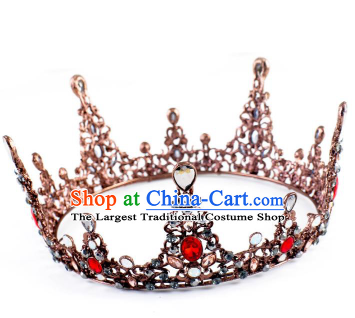 Handmade Baroque Queen Crystal Round Royal Crown Wedding Bride Hair Jewelry Accessories for Women