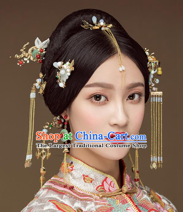 Chinese Ancient Handmade Tassel Hairpins Bride Hair Accessories Complete Set for Women