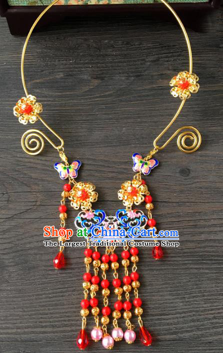 Top Grade Handmade Chinese Wedding Jewelry Accessories Bride Tassel Blueing Necklace for Women