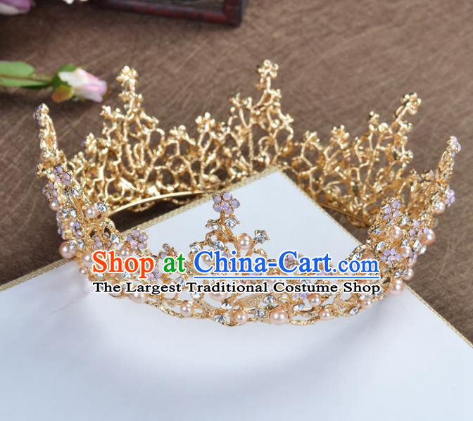 Top Grade Handmade Baroque Bride Golden Round Royal Crown Wedding Hair Jewelry Accessories for Women
