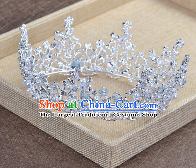 Top Grade Handmade Baroque Bride White Round Royal Crown Wedding Hair Jewelry Accessories for Women
