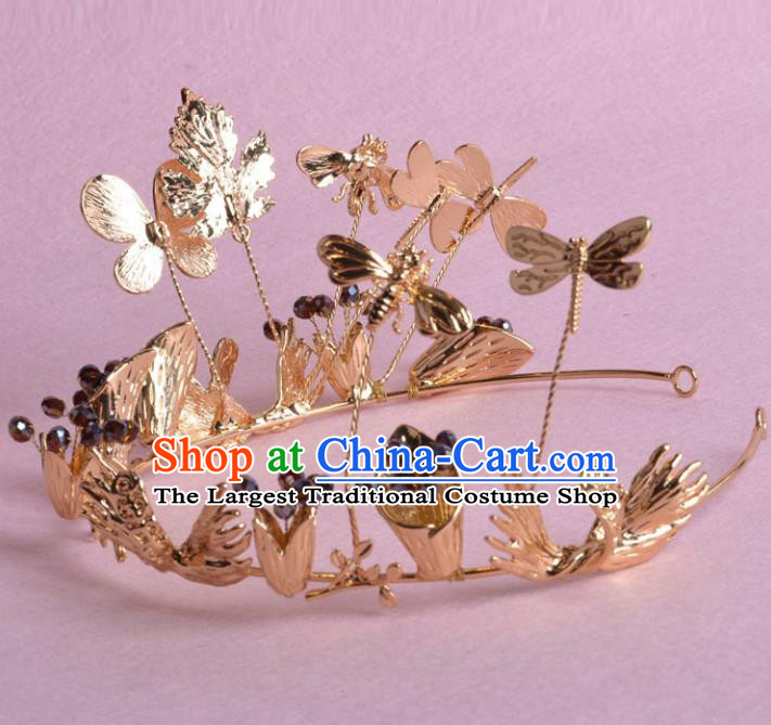 Top Grade Handmade Baroque Bride Golden Royal Crown Wedding Hair Jewelry Accessories for Women