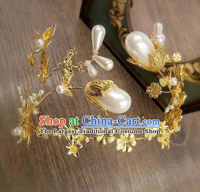 Top Grade Handmade Baroque Bride Pearls Golden Royal Crown Wedding Hair Jewelry Accessories for Women