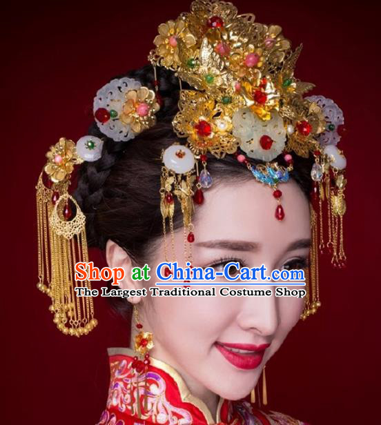 Chinese Ancient Handmade Tassel Hairpins Bride Hair Accessories Jade Phoenix Coronet Headwear for Women