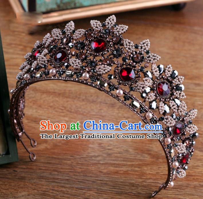 Handmade Wedding Baroque Queen Crystal Black Royal Crown Bride Hair Jewelry Accessories for Women