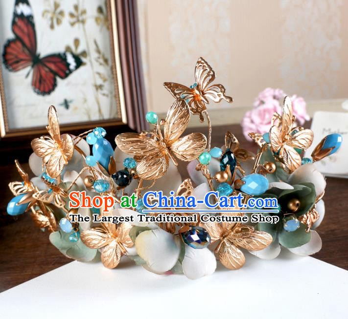 Top Grade Handmade Baroque Golden Butterfly Royal Crown Wedding Bride Hair Jewelry Accessories for Women