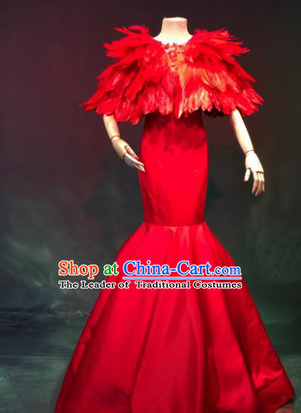 Top Grade Catwalks Costume Stage Performance Model Show Red Mermaid Dress for Women