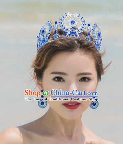 Top Grade Handmade Baroque Blue Crystal Royal Crown and Earrings Wedding Bride Hair Jewelry Accessories for Women
