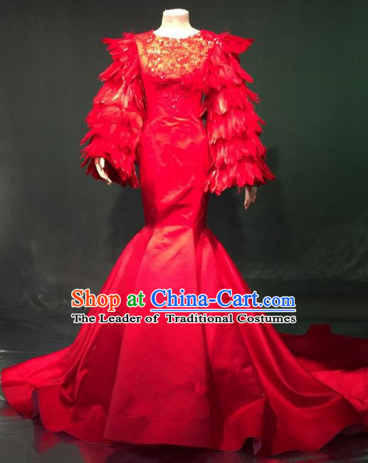 Top Grade Catwalks Costume Stage Performance Model Show Red Feather Trailing Dress for Women